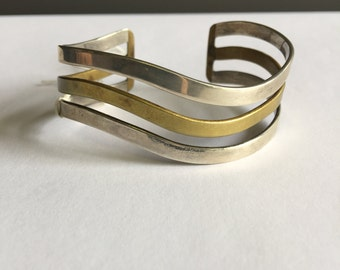 Vintage Silver Cuff, Silver Bracelet, Mixed Metal Cuff Bracelet