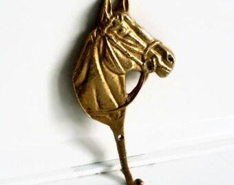 vintage horse hook/ solid brass/ home decor/ brass hook