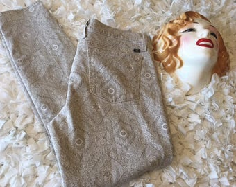 WOMENS LUCKY BRAND jeans beige floral size 12/31 ladies Charlie Skinny vintage white