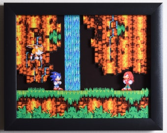 "Sonic The Hedgehog 3 (Genesis) - ""Sonic & Knuckles"" 3D Video Game Shadow Box with Glass Frame"