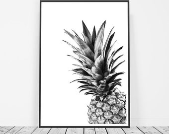 Black and White Pineapple Print, Pineapple Poster, Pineapple Wall Art, Pineapple Art, Tropical Art, Tropical Print, Tropical Decor