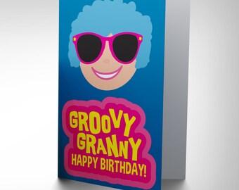 Gran Birthday Card - Groovy Granny Cool Lady Blank Greetings Card Cp2686