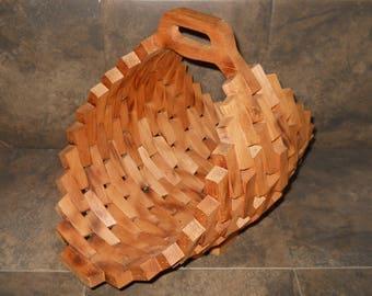 Vintage Hand Made Wood Block Basket