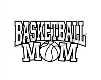 Basketball Mom with Ball Download Files - SVG, DXF, EPS, Silhouette Studio, Vinyl Files, Digital Cut Files -Use with Cricut and Silhouette