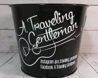 Musician Bucket / Tip Bucket / 5 Quart Personalized Bucket / Gift Basket / Beverage Pail