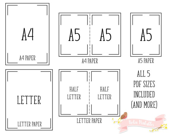 half letter size paper goal tracker printable planner insert page a4 letter a5 22065 | il 570xN.1105157142 5wqa