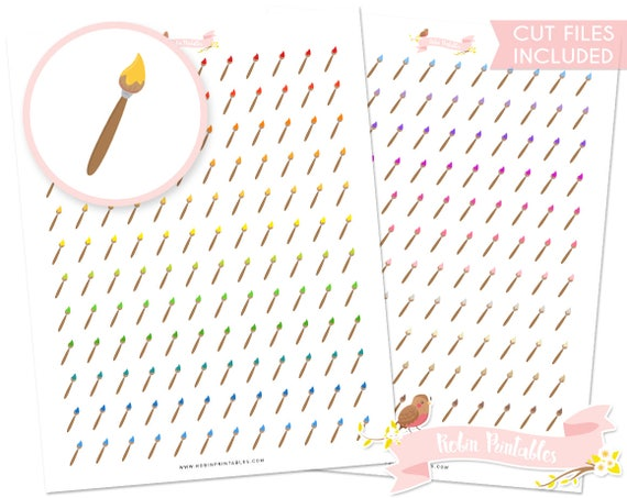 Paint brush printable planner stickers with silhouette cut for Paint planner