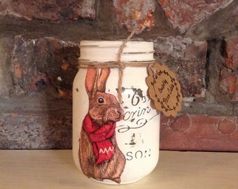 1 Vintage Rabbit Mason jar, Shabby chic, Easter