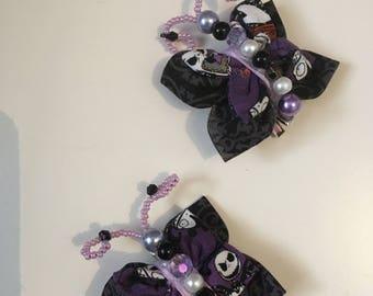 The Nightmare Before Christmas butterflies handmade hair clips