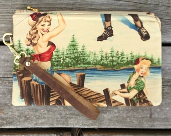 Pin up girls at the lake wristlet