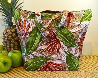 Hawaiian Print Shopping Bag in Earth Tones, Autumn Colors Hawaiian Print Market Bag, Folding Cotton Tote in Tropical Brown and Green