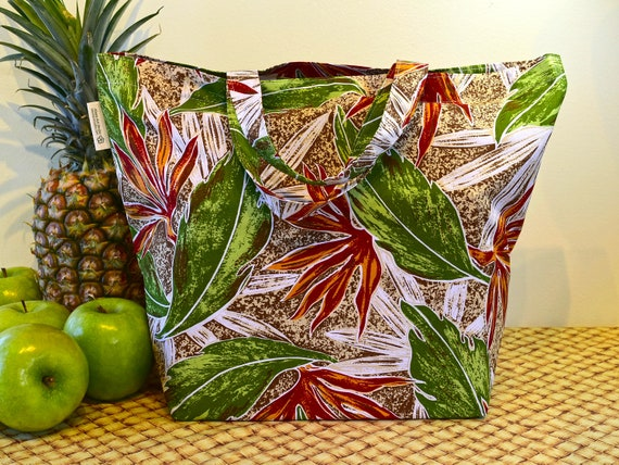 Hawaiian Print Shopping Bag in Earth Tones, Autumn Colors Hawaiian Print Market Bag, Folding Cotton Tote in Tropical Brown and Green