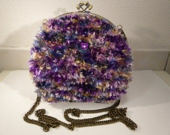 wool knitted look fur bag / / kawaii bag / / violet / / old clasp.