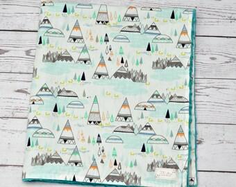 Personalized baby blanket - Baby minky blanket - Teepee minky blanket - Teepee Nursery - Teal baby blanket - Tribal Blanket nursery