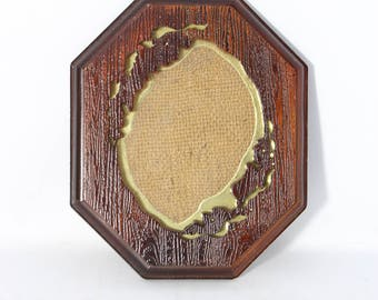 HL British Design Picture Frame Wood Imitation Texture Octagonal Freestyle Window Wall Frame