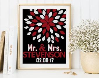 Wedding cross stitch pattern, flowers pattern   PDF DIY wedding gift instant download