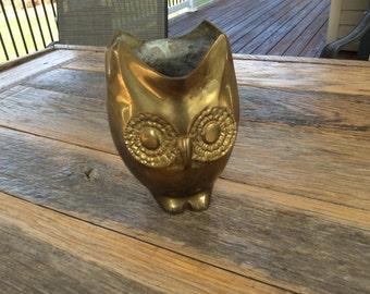 Brass Owl Flower Pot Planter