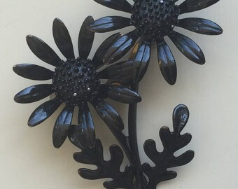 Unique  Vintage  Black Daises Brooch .