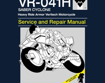 VR-041H Ride Armor Cyclone Service and Repair Manual T-shirt - Mospeada Macross Robotech Veritech Anime Manual Parody Clothing
