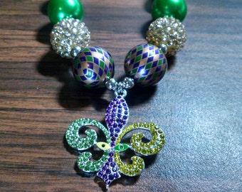 Mardi Gras Fleur de Lis Girls Bubblegum Necklace.  Gumball Necklace