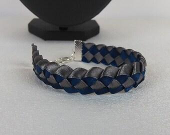 Bracelet braided man / blue and gray/satin ribbon