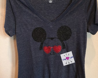 Women's- girl's - family Disney inspired Minnie Mouse- Mickey Mouse shirts with glasses