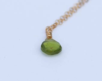 August Birthstone, Peridot Necklace, Gold Peridot Necklace, Dainty Necklace