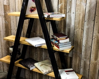Kraki Steel Handmade Reclaimed Box Leg Steel and Wood Ladder Shelving in Light Wax Finish Made to Order