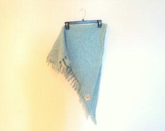 Triangular shawl mohair from Scotland.  Vintage accessory. Triangle vintage scarf wool. Glentana vintage.