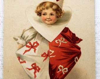 Postcard Vintage Valentine Girl in Clown Costume Embossed - 1900's