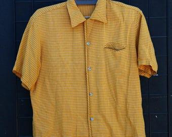 Vintage 80\'s board Stripe Button down Blouse [0227]