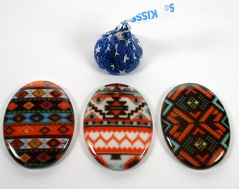 3 - Porcelain Cabochons 30x40 Native American Designs Coral Turquoise Brown - Jewelry/Beading Supplies - Cabochon For Jewelry