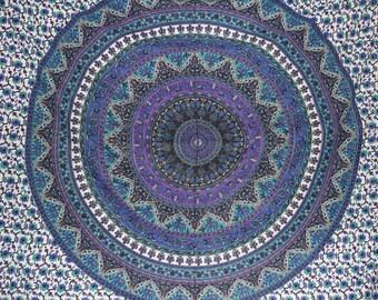 Mandala with Elephants fabric - Colors include purple, blue and more - Elephant Tapestry Boho fabric