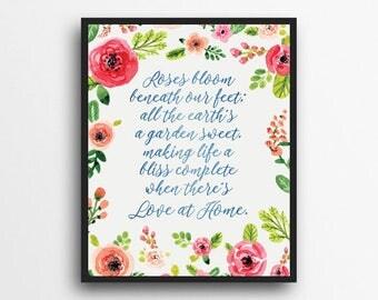 Love At Home Print | Watercolor Floral | Hymn Lyrics | LDS Decor | Digital Download