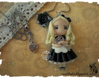 Dark Alice in Wonderland polymer clay necklace with rose