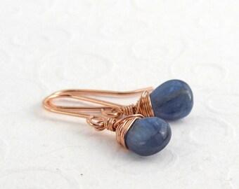 Small blue kyanite earrings, pink gold filled, sterling silver, small drop earrings, summer earrings, delicate gemstone earrings