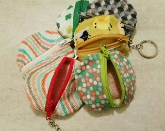 Ear bud case or coin pouch keychain