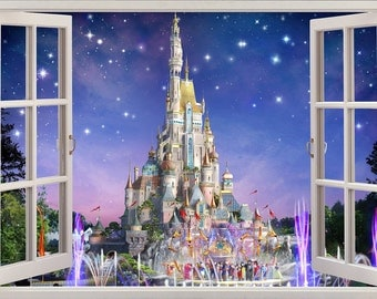 3D Wall Sticker Window *Disney Castle* / Self Adhesive Vinyl Decal Poster Mural Part & Disney Castle Wall Sticker - [thronefield.com]