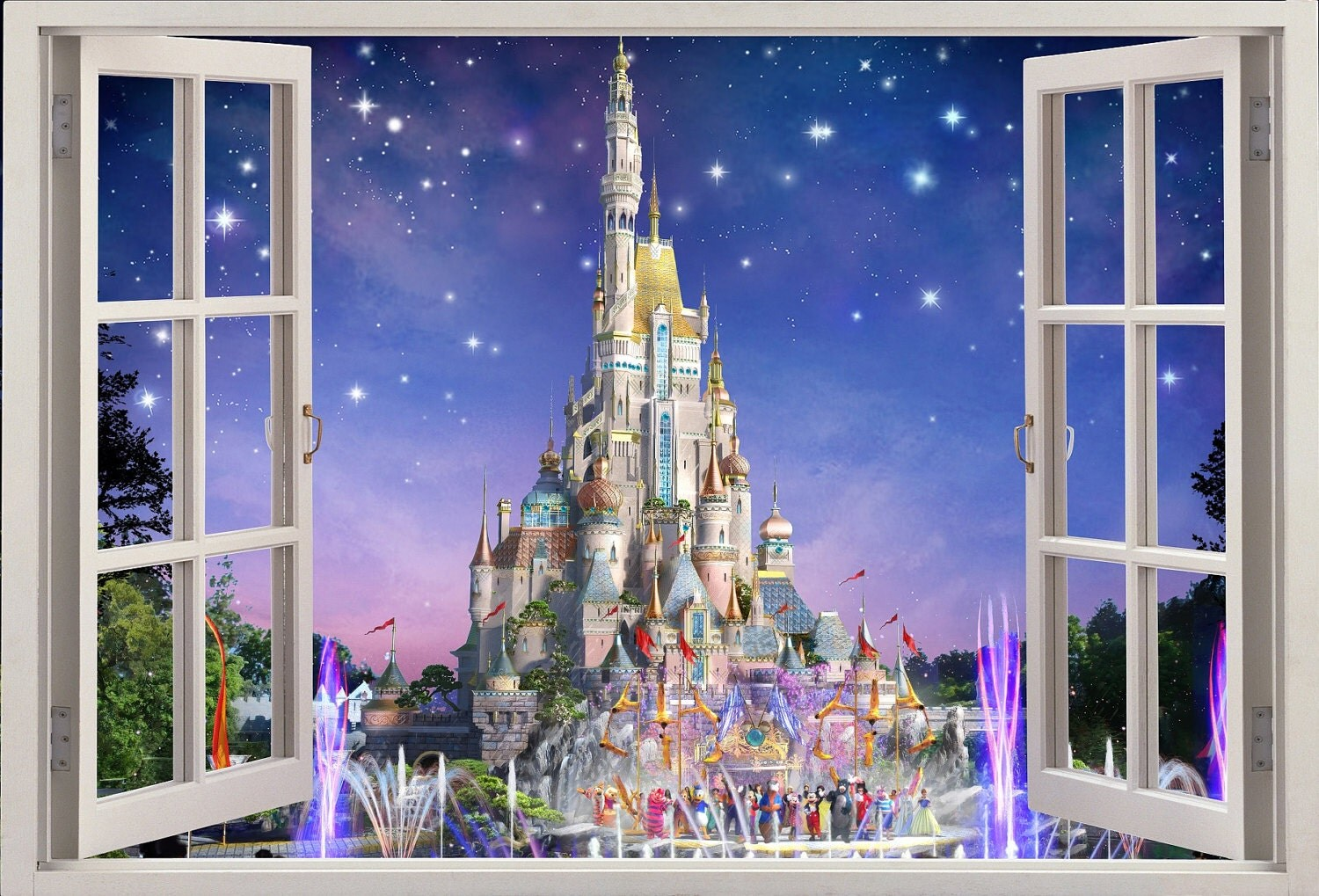 3d Wall Sticker Window Disney Castle Self Adhesive Vinyl