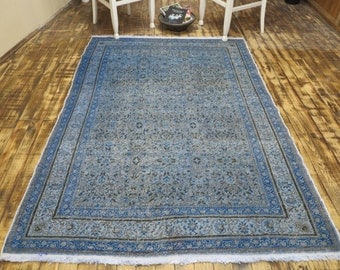 FREE SHIPPING! Oushak Rug 87x59 inches Vintage Mute Baby Blue Rug Distressed Rug Turkish Rug Muted Color Rug Overdyed Rug Lowpile Rug