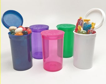 12 Party Favors Pop Top Hinged Lid Pill Bottles Purple, Blue, Green, Pink or White