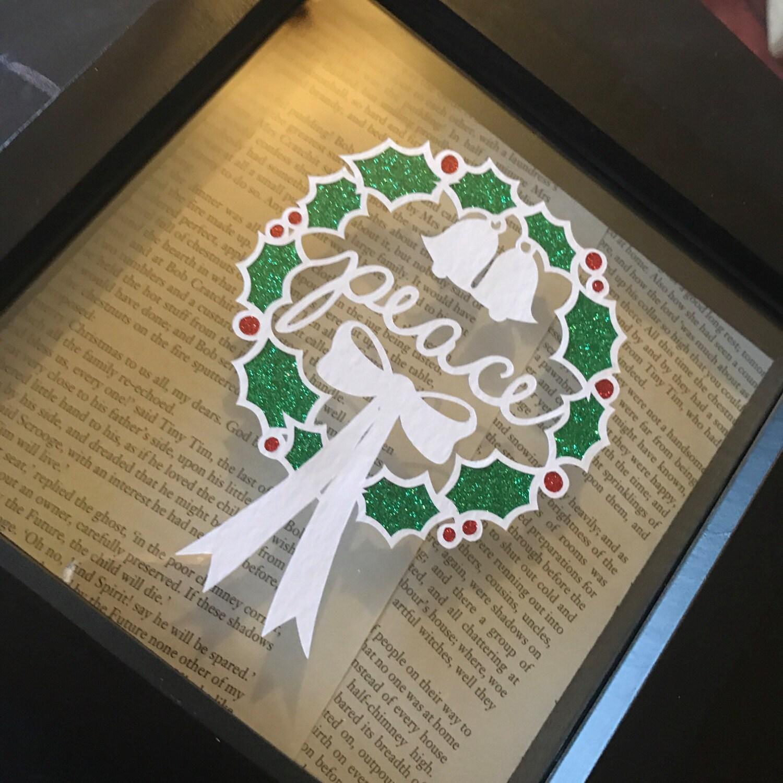 Christmas Holly Peace Wreath Framed Hand Cut Paper Cut