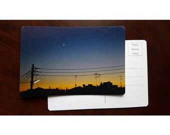 Cityscape Silhouette Postcard, Fine Art Photography, Archival Paper, Atsugi Japan, Minimalist Landscape, Giclee Print, Night Landscape