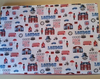 "Pair of  ""London"" Themed Fabric Table Mats/Place Mats"