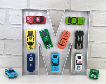 Boy car decor, Gift for Father's Day, Gift for car lover, Car nursery art, Boy nursery decor, Toddlers car decor, Car wooden letter, Cars