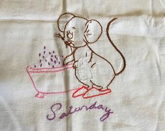 Vintage Embroidered Saturday Bath Mouse Tea Towel