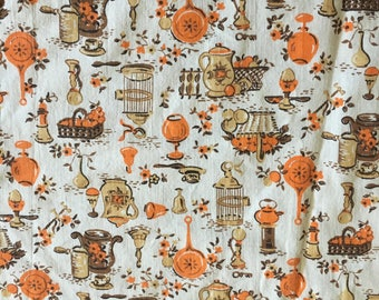 Vintage 1970s Cotton Orange And Brown Kitchen Print Two Panel Kitchen  Curtains