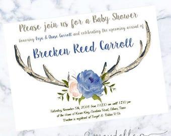 Baby Shower Invitation - Antlers - Custom Invitation