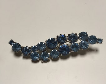 Silvertone Light Blue Rhinestone PIn