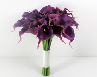 Brides Purple Ivory Real Touch Calla Lily Wedding Bouquet, Bridal Bouquet, Wedding Bouquet Set, Bridesmaid Bouquet – Colour Options UK